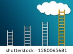 yellow ladder to cloud on blue... | Shutterstock . vector #1280065681