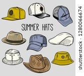 set of sketches of summer sun... | Shutterstock .eps vector #1280066674