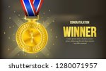 realistic shiny gold medal with ... | Shutterstock .eps vector #1280071957
