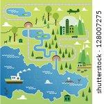 cartoon map seamless pattern | Shutterstock .eps vector #128007275