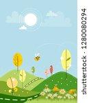 cute cartoon landscape of...   Shutterstock .eps vector #1280080294