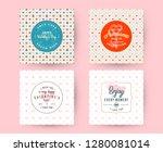set of happy valentines day... | Shutterstock .eps vector #1280081014