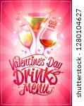 valentine's day drinks menu... | Shutterstock .eps vector #1280104627