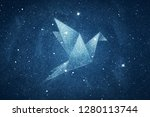stars in origami bird shape... | Shutterstock . vector #1280113744