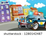 cartoon scene with police car... | Shutterstock . vector #1280142487