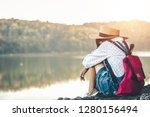 female tourists in beautiful... | Shutterstock . vector #1280156494