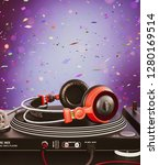 headphone on turntable vinyl... | Shutterstock . vector #1280169514