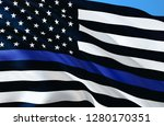 american police flag. thin blue ... | Shutterstock . vector #1280170351