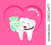 cute cartoon tooth and dental... | Shutterstock .eps vector #1280176477