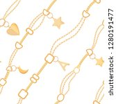 golden chains and charms... | Shutterstock .eps vector #1280191477