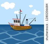 fishing ship or boat at sea  | Shutterstock .eps vector #1280206684