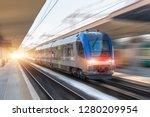 railroad travel passenger train ... | Shutterstock . vector #1280209954