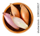 long shallots  whole and sliced ...   Shutterstock . vector #1280210017