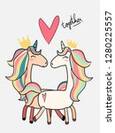 cute male unicorn kiss female... | Shutterstock .eps vector #1280225557