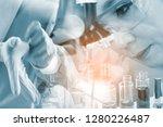 double exposure. scientist with ...   Shutterstock . vector #1280226487