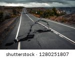 damaged asphalt road  crater... | Shutterstock . vector #1280251807