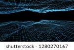 blue wavy mesh background  3d...   Shutterstock . vector #1280270167