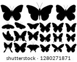 Stock vector butterfly set silhouette 1280271871