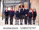 primary school kids standing in ... | Shutterstock . vector #1280272747