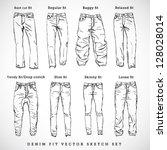 denim fit vector sketch set | Shutterstock .eps vector #128028014