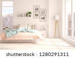 white bedroom with winter... | Shutterstock . vector #1280291311