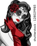 Sugar Skull Lady With Paint Fo...