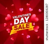 valentines day sale background... | Shutterstock .eps vector #1280303287