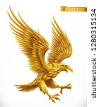 eagle  gold emblem. 3d vector... | Shutterstock .eps vector #1280315134