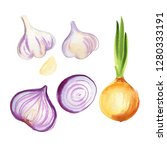 onions  red onions  garlic... | Shutterstock . vector #1280333191