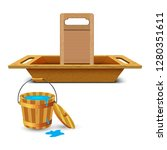 wooden washtub for bathing and... | Shutterstock .eps vector #1280351611