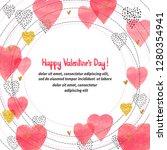 valentines day card design.... | Shutterstock .eps vector #1280354941