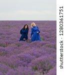 two girls in blue dresses... | Shutterstock . vector #1280361751