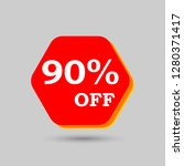90  off discount sticker. sale... | Shutterstock .eps vector #1280371417