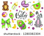 colorful watercolor baby shower ... | Shutterstock . vector #1280382304