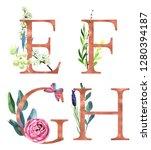e  f  g  h  decorative floral... | Shutterstock . vector #1280394187