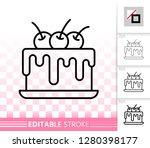 cherry cake thin line icon....   Shutterstock .eps vector #1280398177