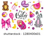 colorful watercolor baby shower ... | Shutterstock . vector #1280400601