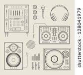 vector set of various stylized... | Shutterstock .eps vector #128041979