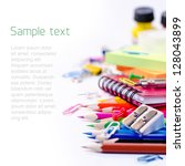 school supplies on white... | Shutterstock . vector #128043899