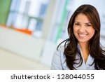 beautiful business woman... | Shutterstock . vector #128044055