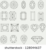 vector set of diamond design... | Shutterstock .eps vector #128044637