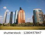 abu dhabi skyline  united arab... | Shutterstock . vector #1280457847