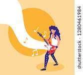 rocker man playing electric... | Shutterstock .eps vector #1280461984