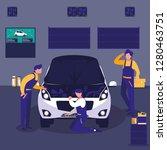 car in maintenance workshop... | Shutterstock .eps vector #1280463751