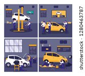 car in maintenance workshop... | Shutterstock .eps vector #1280463787