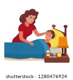 mother taking the temperature... | Shutterstock .eps vector #1280476924