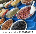 multi colored olives on the... | Shutterstock . vector #1280478127