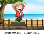 illustration of a boy jumping... | Shutterstock .eps vector #128047817