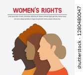 women rights concept. three of...   Shutterstock .eps vector #1280480047