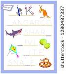 tracing letter k for study...   Shutterstock .eps vector #1280487337